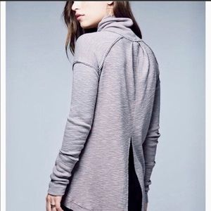 We the Free People Gray Split Back Turtleneck